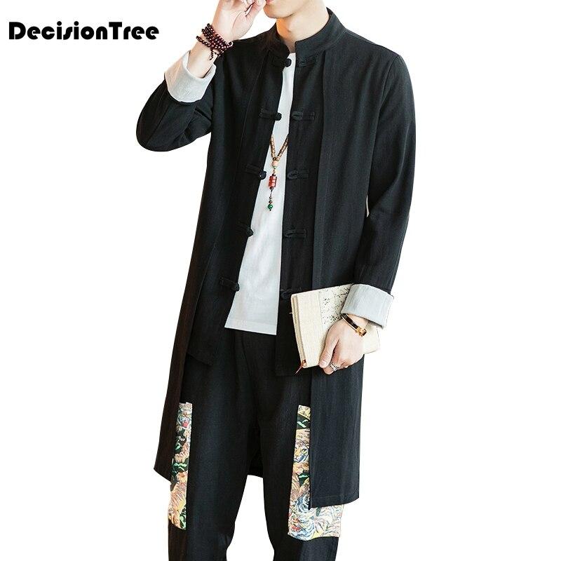 2019 nouvelle broderie japonais harajuku kimono chemise en lin hommes butin rétro d'origine hauts classique chinois style longueur de vêtement cardigan