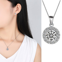 Luxury Zircon Round Shape Pendant Necklace for Women Full Circle Clavicle Chain Silver Jewelry Wholesale