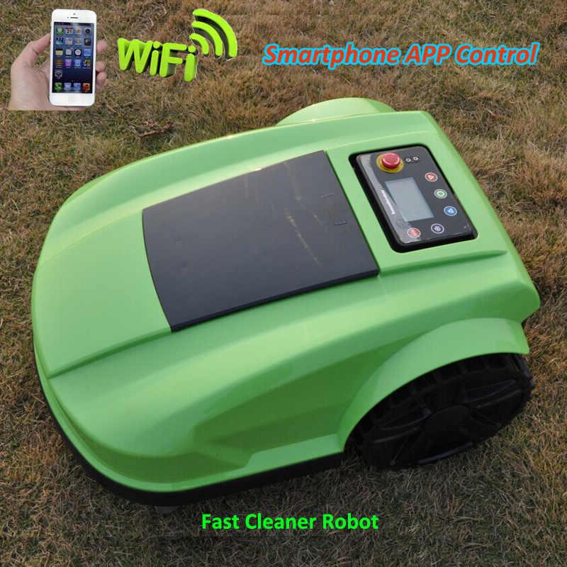 Зеленый 4-го поколения Wi-Fi управление робот газон mover S520 стекло резак с планировкой, ЖК-дисплей, датчик дождя, водонепроницаемый
