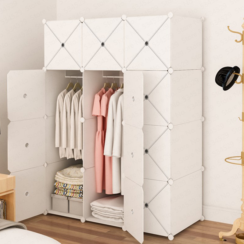 B Simple Wardrobe Assembly Plastic Cloth Closet Space Imitation Solid Wood Panel Simple Modern Economic Cabinet