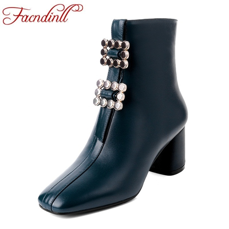 FACNDINLL 2018 fashion sheep leather shoes woman ankle boots sexy high heels square toe women dress party casual riding boots цена