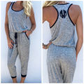 Sexy Women Ladies Summer Clubwear Playsuit Gray Casual Cotton Party Jumpsuit Romper Long Trousers 2016