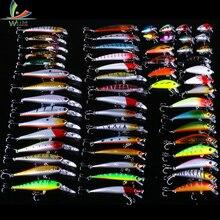 Купить с кэшбэком 56pcs Mixed Fishing Lures Minnow Crankbaits Baits high carbon steel treble hook Wobblers Set Lifelike Fake Fishing Tackle