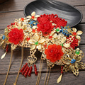 2016 new bride headdress Costume Chinese orient red and gold bride tiara hair Coronet crown wholesale