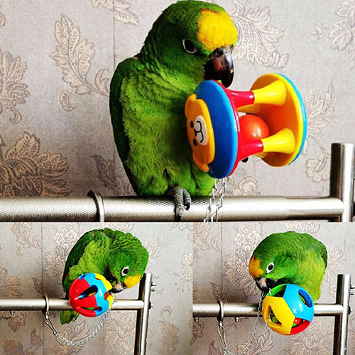 Cute Pet Bird Plastic Chew Ball Chain Cage Toy for Parrot Cockatiel Parakeet 3