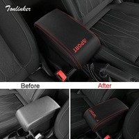 Tonlinker Cover Stickers For Ford Ecosport 2018 Car Styling 1 PCS PU Leather Armrest Protection Anti