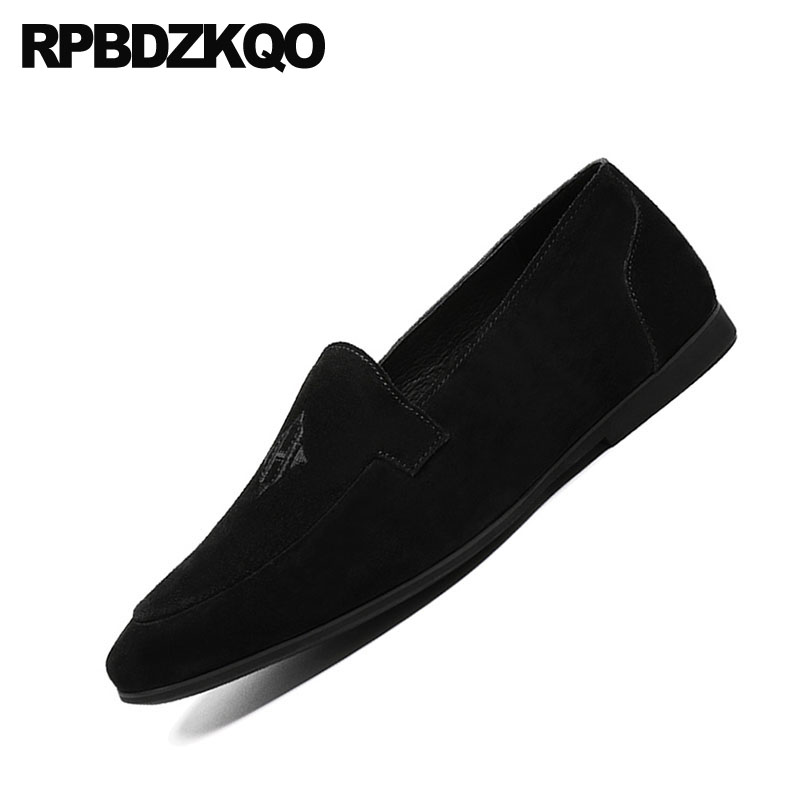 Alta Luxo Preto Qualidade Couro Sapatos De Fino Sapato Festa Estilo Black Homens Bico Bordado On Verdadeiro Genuíno Nubuck Suede Britânico Slip Loafers HZAqf14