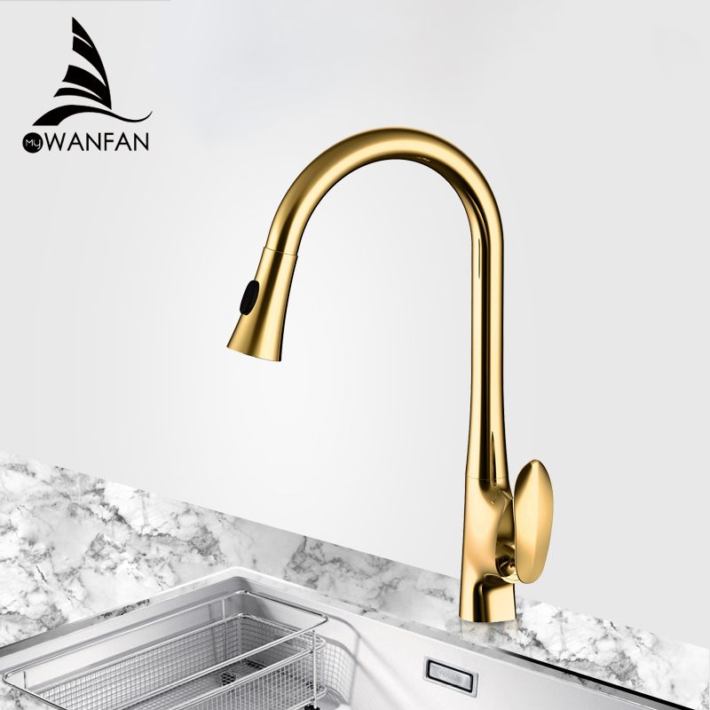 Kitchen Faucets Gold Single Handle Pull Out Kitchen Tap Single Hole Handle Swivel 360 Degree Water Mixer Tap Mixer Tap 0166K