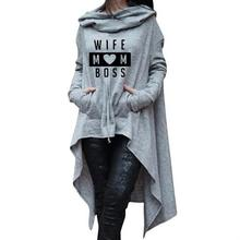 Long Irregular  WIFE MOM BOSS Letters Print Hoodies for Women Kawaii Sweatshirt Femmes Sweatshirts Mothers Day