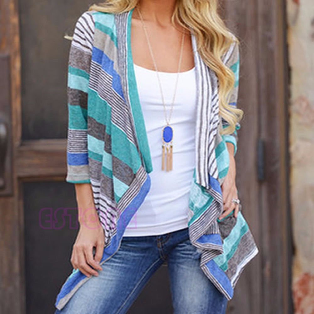 Women Cardigan Loose Sweater Long Sleeve Cotton Stripe Outwear ...