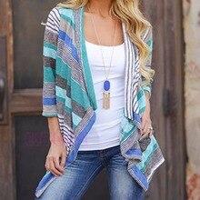 Long Sleeve Cotton Stripe Outwear Knitted Jacket Coat