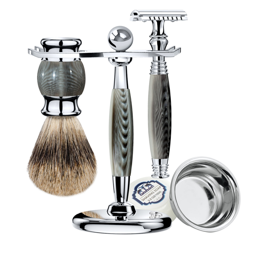 ZY 5pcs Man Safety Razor Double Edge Shaving Kit Long Handle+Natural Badger Shaving Brush +Stand Holder+Shave Soap Bowl Gift grandslam 3pcs set man double edge safety razor shaving razor set long handle badger shaving brush stand holder wet shave tool
