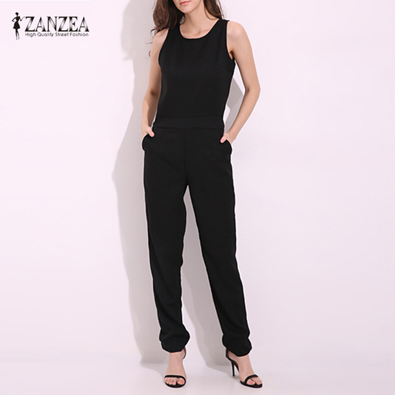 ZANZEA 2018 Summer Rompers Womens   Jumpsuit   Sexy Ladies Casual Elegant Sleeveless Long Trousers Plus Size Overalls Black   Jumpsuit