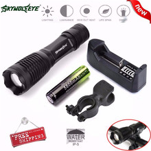 Zoomable Focus 3000 Lumens 3 Modes XML T6 LED 18650 Flashlight Torch Lamp Free Shipping #NN18