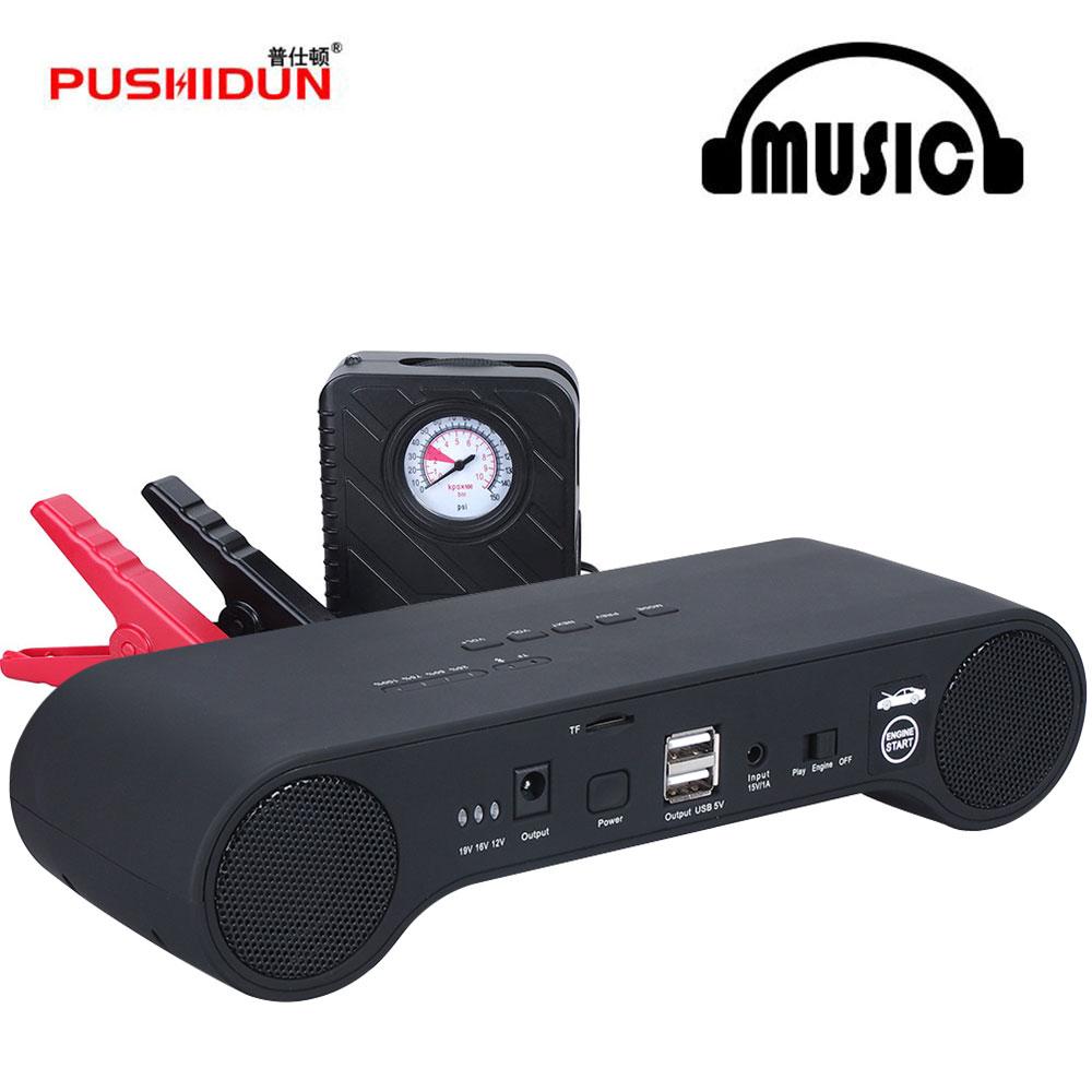 PUSHIDUN RR03 12 v 18000 mah Ir Para Iniciantes Power Bank Impulsionador Carro Bateria de Arranque Do Carro com Bluetooth Play + Air comperssor