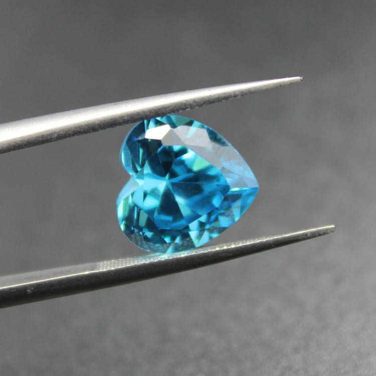 Jantung brilliant cut faceted dibuat gemstones aquamarine beads brasil laut biru hati-bentuk longgar batu untuk membuat perhiasan DIY