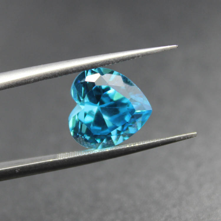 heart brilliant cut faceted created aquamarine beads brazil sea blue gemstones heart-shape loose stone for jewelry making DIY