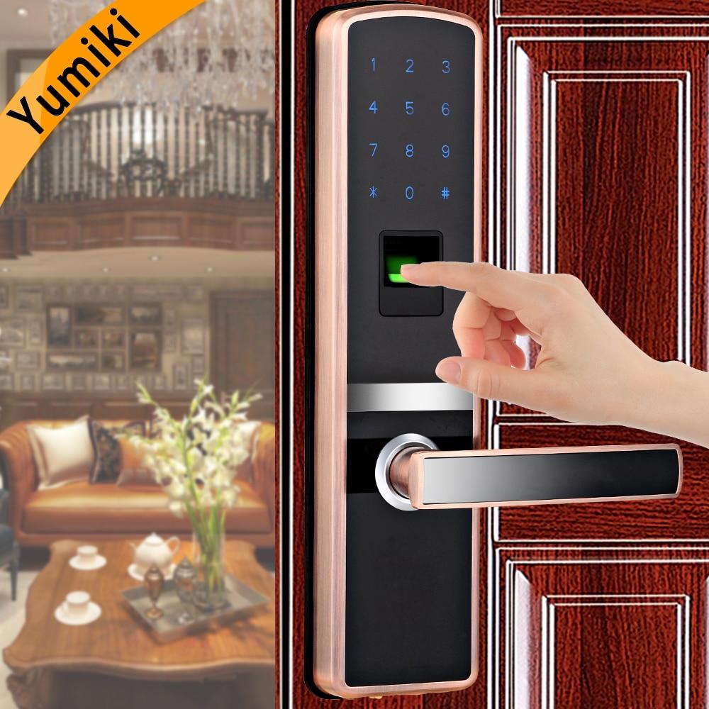 Intelligent fingerprint door lock biometric with good quality Red Cooper Color for home metal&wooden door lowest temperature-35