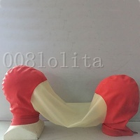 Latex Rubber Gummi Cool Transparent and Red Couple Mask Headgear Size XXS XXL