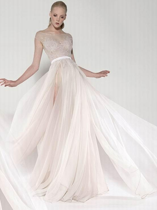 2016 paolo sebastian real sheer beach wedding dresses a line beaded 2016 paolo sebastian real sheer beach wedding dresses a line beaded embroidery runway cap sleeves tulle chiffon bridal gowns in wedding dresses from junglespirit Gallery