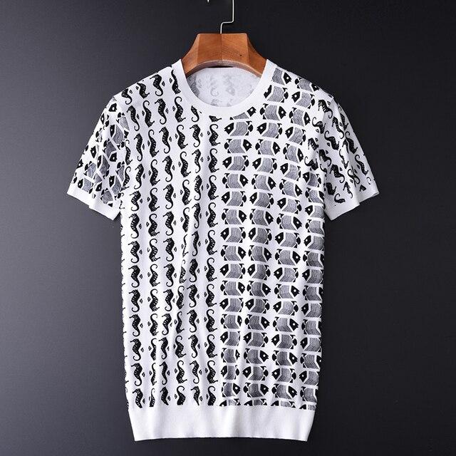 Minglu 100% Degli Uomini Del Cotone T Shirt di Lusso di Stile Ocean Stampato Lavorato A Maglia Mens T Shirt Più Il Formato 3XL 4XL Slim Fit Estate Uomo tee