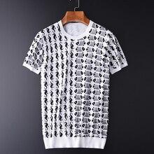 Minglu 100% Katoen Mannen T shirt Luxe Oceaan Stijl Gedrukt Gebreide Heren T shirts Plus Size 3XL 4XL Slim Fit Zomer Man tee