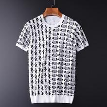 Мужская Трикотажная футболка Minglu, летняя облегающая футболка из 100% хлопка с принтом в стиле океана, размера плюс, 3XL, 4XL