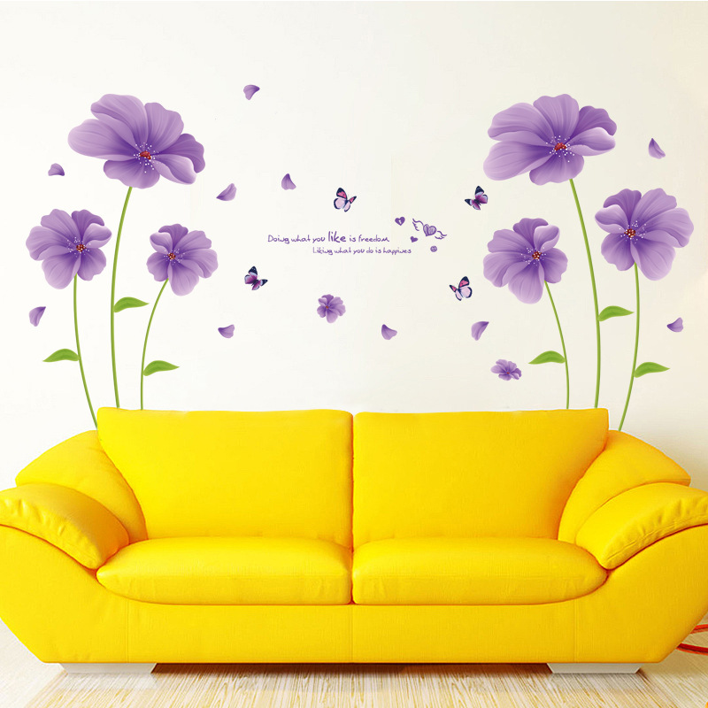 Maruoxuan Purple Flowers Wall Sitting Room Sofa Tv Setting Wall ...