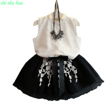 Fashion lace dress girl's dress 2017 summer new girl dress 3-7 year old girl sweet dress dress little girl fashion princess skir nicbuy girl s autumn winter dress 2017 new children add velvet and lace princess fashion dress red blue