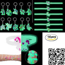 16pcs Luminous Unicorn Bracelets Jewelry Silicone Wristband Cuff Bangles Unicorn Rubber Animal Unicorn Keychain Glow in the dark ringcase decorative glow in the dark silicone wristband bumper frame for iphone 5 5s pink