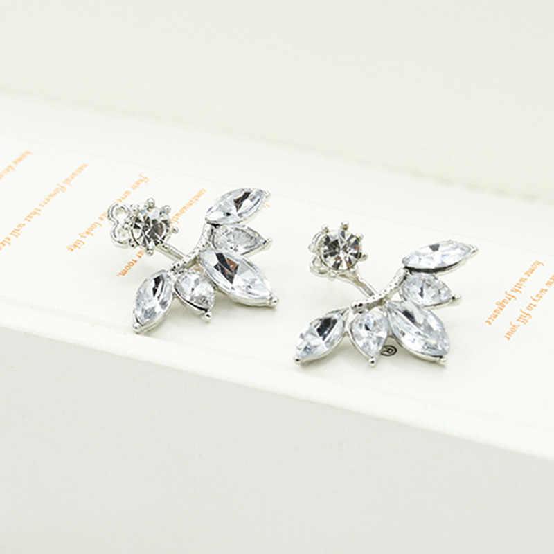 ... Double Side Flower Stud Earrings Rose Gold Silver Crystal Earring For  Women Zircon Rhinestone Charm Pendientes ... ed734ed2fc86