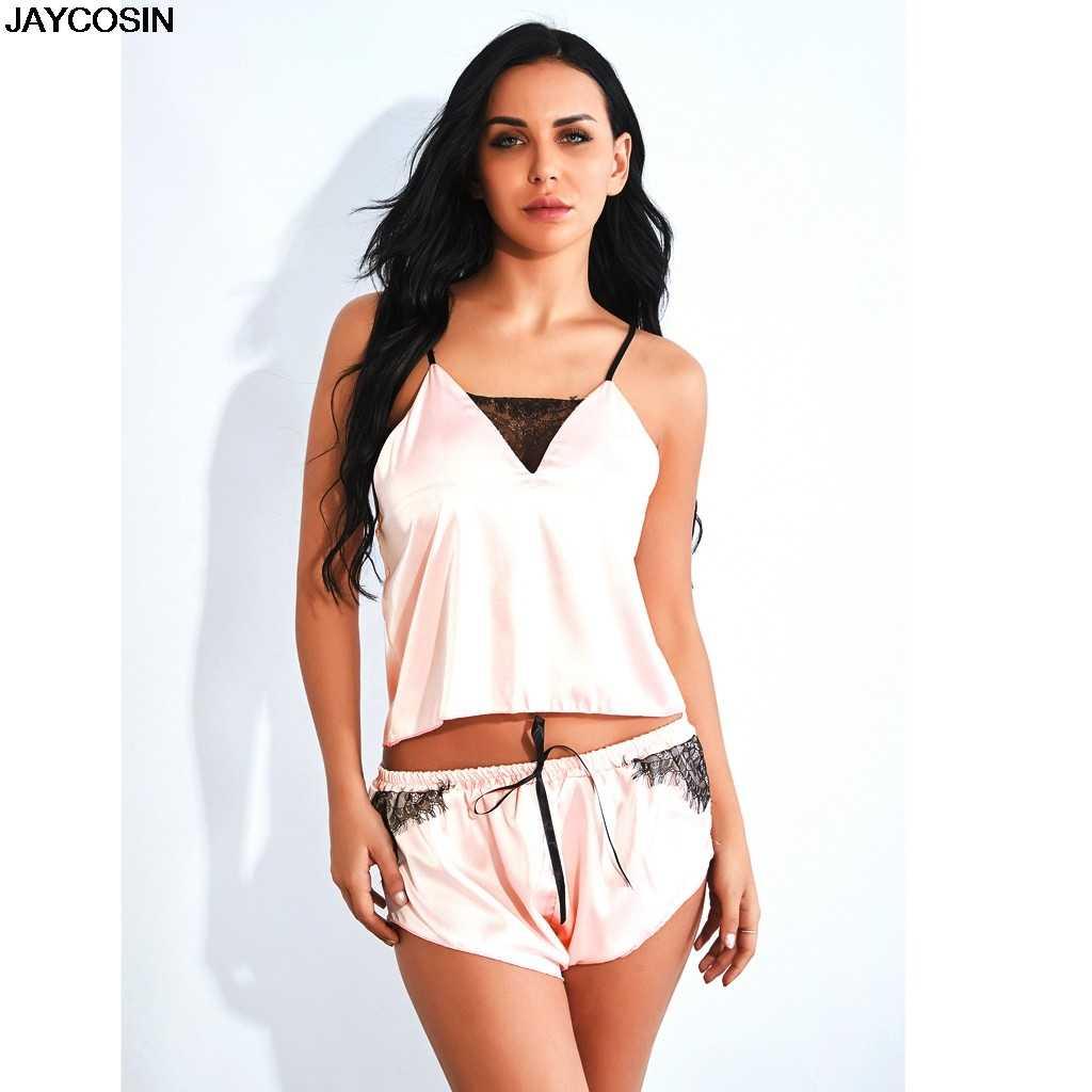 Jaycosin Bra & Set Singkat Fashion Fashion Wanita Satin Renda Sutra Ikatan Simpul Celana Pendek Set Baju Tidur Pakaian Dalam Baju Tidur 9528