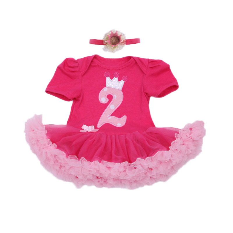 Infant Baby Romper Sets With Letter Cotton Dress For Girls Happy Birthday Red Princess Tutu Rompers+Crown 2pcs/set Baby Clothes new baby girl clothing sets infant easter lace tutu romper dress jumpersuit headband 2pcs set bebes first birthday costumes