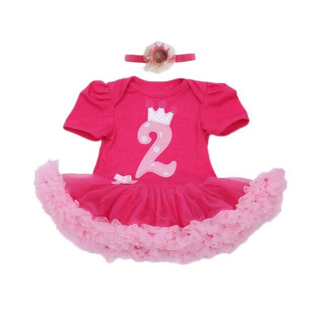 Infantil Romper Do Bebê Conjuntos Com Carta Vestido de Algodão Para Meninas Feliz Aniversário Princesa Vermelho Tutu Rompers + Coroa 2 pçs/set a Roupa do bebê