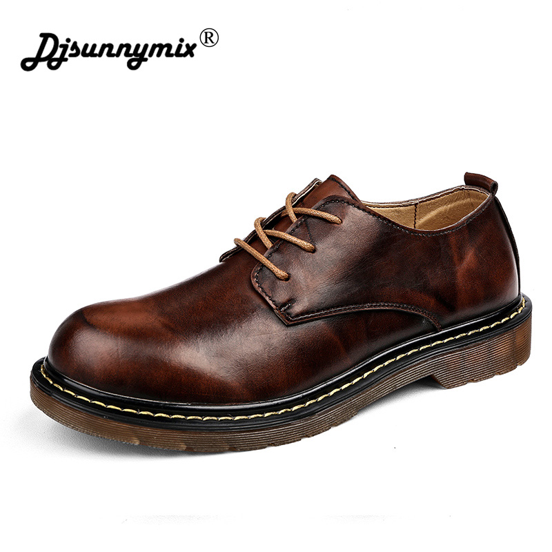 где купить DJSUNNYMIX High Quality Men Boots Black/Red Lace-Up Ankle Rubber Casual Genuine Leather Classic Business Office Formal Men Boots дешево
