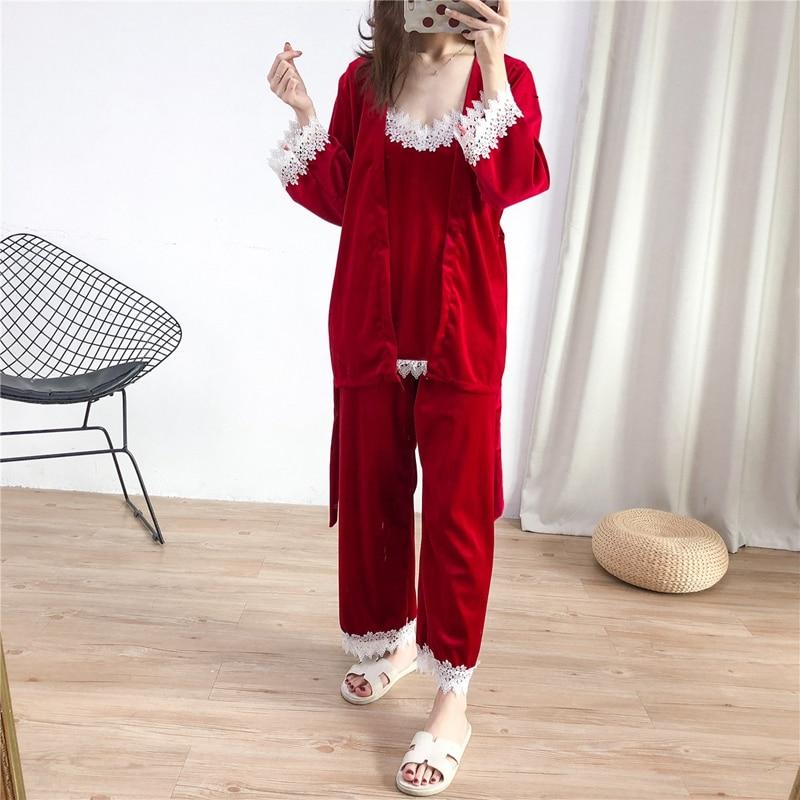 Nighties Velvet 3 pieces   Pajama     Sets   Ladies Sexy top + long Pants + robe   set   Women Winter Patchwork   pajamas   for women pijama