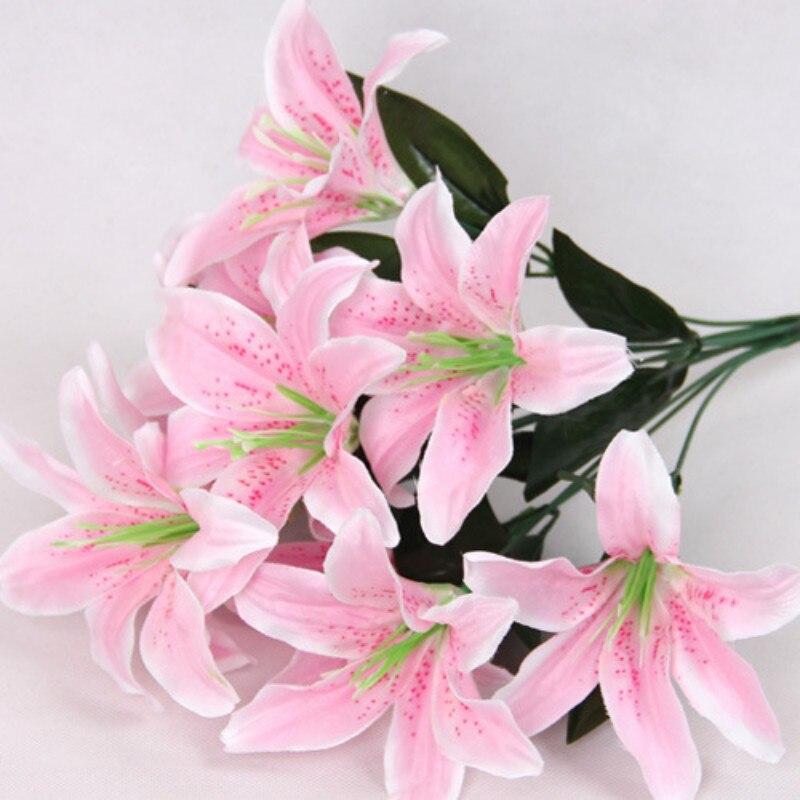 Lirios Ramo 10 Cabezas de flor Artificial de La Boda Decoración Casera Floral Fl