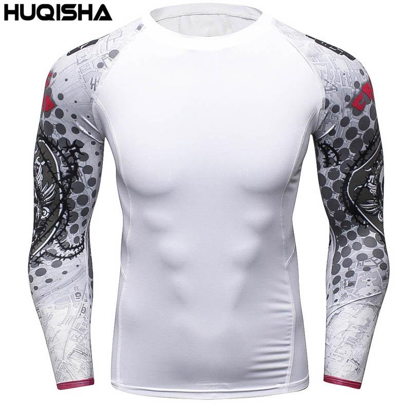 Férfi kompressziós ingek MMA Rashguard Keep Fit Fitness Hosszú ujjú alapréteg Bőr Feszes súlyemelés Elasztikus pólók Homme