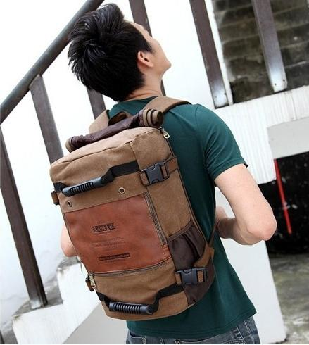 Men's Canvas Travel Bag Rucksack 17'' Laptop Backpack Vintage Casual Pouch Military Bags For Men 22L Vkystar376