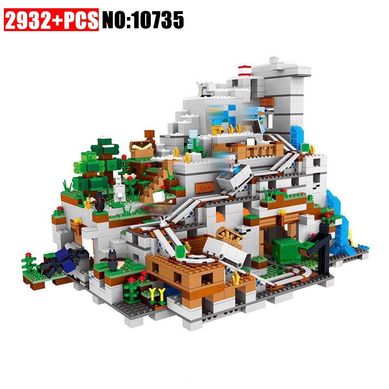 10735 Minecrafted Figures The Mountain Cave Model Building Kits Blocks Bricks Toy For Children Gift Compatible 21137 33067 lepin 18032 minecrafted figures the mountain cave model building kits blocks bricks toys for children compatible legoing 21137