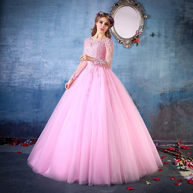 light pink full embroidery beading long sleeve medieval dress ball ...