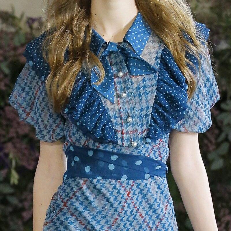 Carreaux Nouvelle Boutons Dame D'été 2018 Longues Poule Limitée À Robe Manches Bleu Femmes L'ukraine Revers Tempérament Imprimé Lanterne ax0FEqw