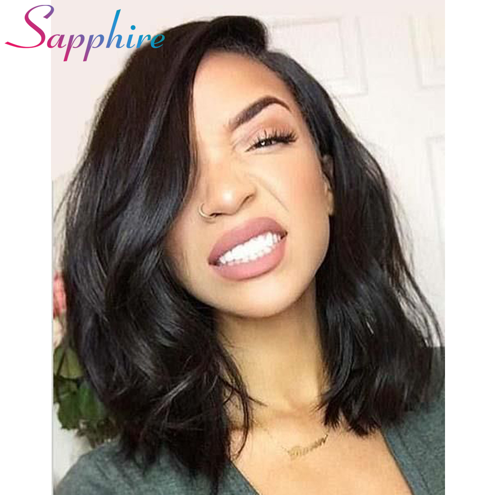 Sapphire Lace Front Human Hair Wigs For Black Women Brazilian Body Wave Wig Hair With Baby Hair Natural Color With Baby Hair