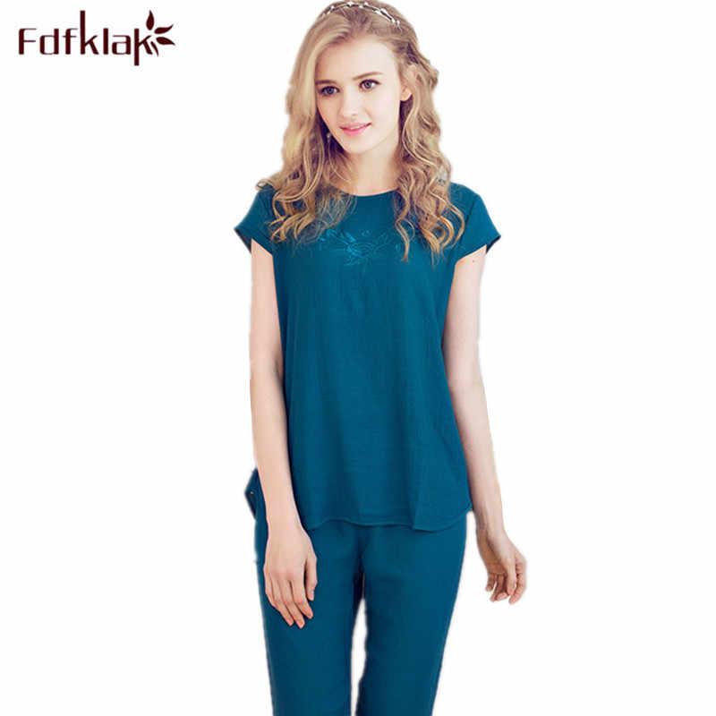 2d40c439e6 XL-4XL 2017 Fashion O-Neck Ladies Summer Pajamas Home Women s Clothing  Pijama De