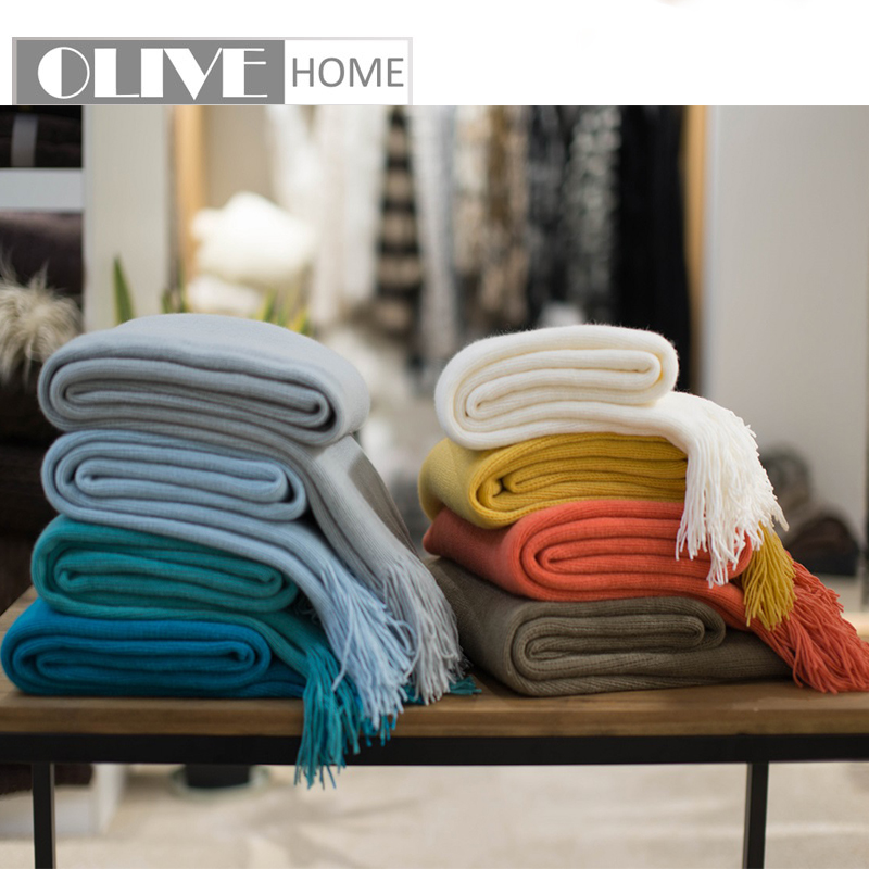 Home Automation Modules Weave Blankets Fringed Sofa Bed Cover Baby Soft Throw Cotton Rug Slipcover Weave Blanket 1pc