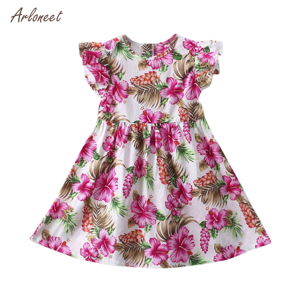 ARLONEET Baby Girls Kids Infant Toddle Floral Rabbit Sleeveless Clothes Princess Dress FE8 Dropshipping