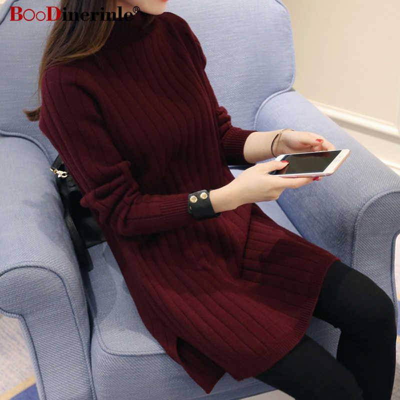 2020 春プルオーバーセーター女性ハーフタートルネック冬のセーターの女性秋の女性のウール船体ニットロング sweter ドレス K112