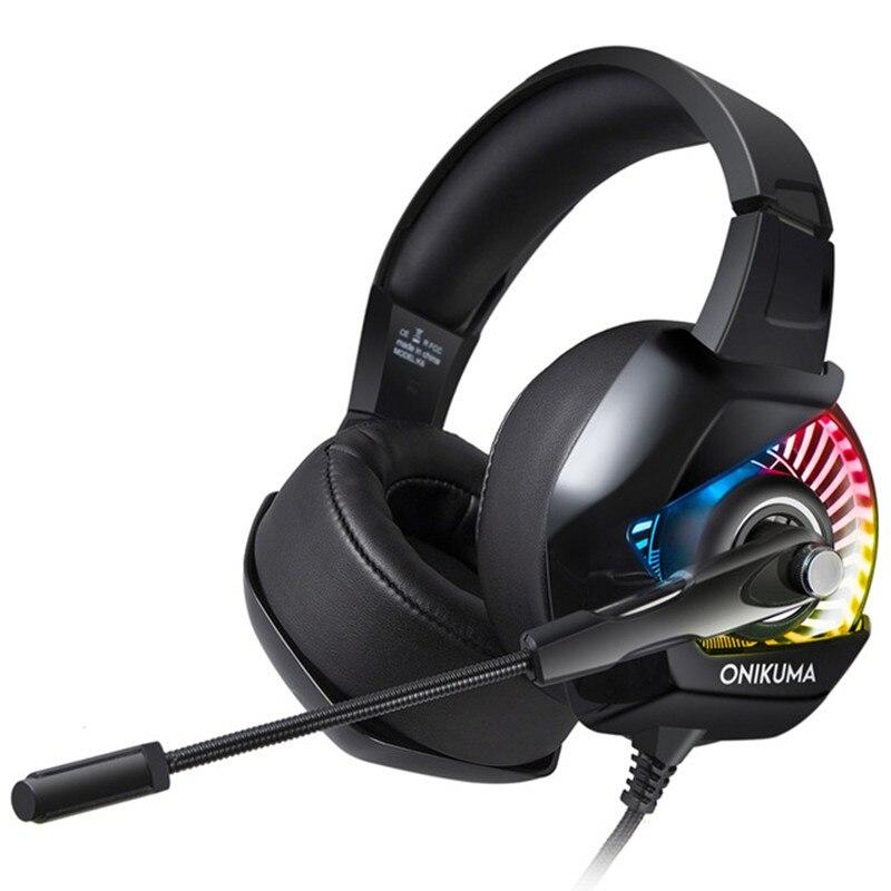 Più nuovo ONIKUMA K6 Gaming Auricolare casque Stereo Gioco Cuffie Auricolare con Microfono RGB HA CONDOTTO LA luce per il PC Del Computer PS4 Gamer