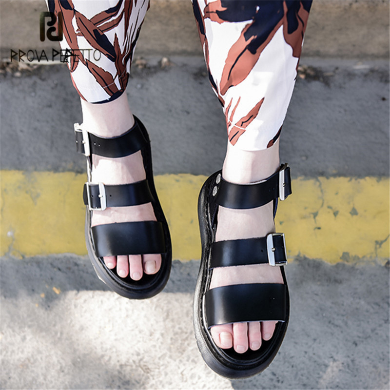 Prova Perfetto Black Women Gladiator Sandals Casual Flat Shoes Woman Thick Heel Beach Flats Sandalias Mujer