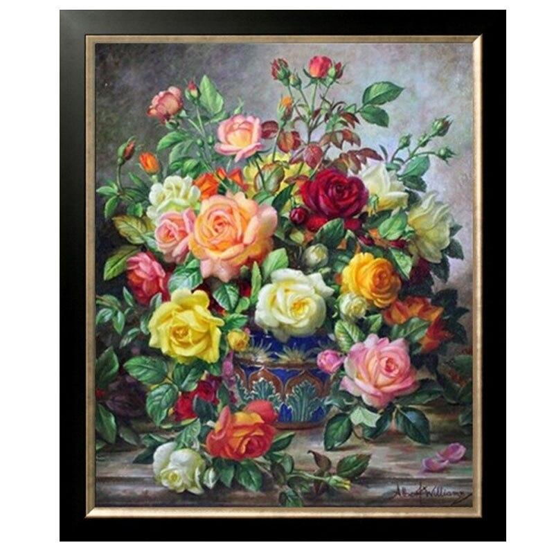 Panno doré, couture, broderie, bricolage peinture florale, point de croix, kits, 14ct thé Roses arts point de croix, ensembles pour broderie